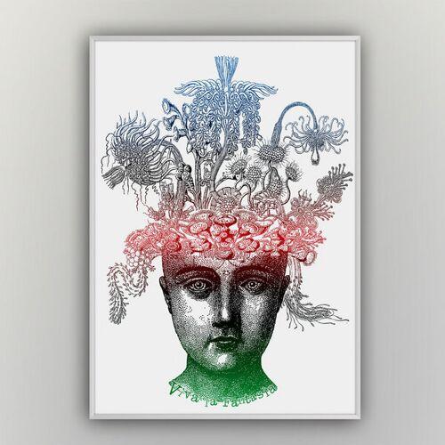 """HANDGEDRUCKT """"Viva La Fantasia"""" A2 Hand-siebdruck-poster weiß/bunt A2"""