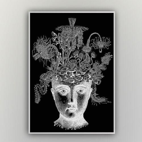"""HANDGEDRUCKT """"Viva La Fantasia"""" A2 Hand-siebdruck-poster schwarz/weiß A2"""