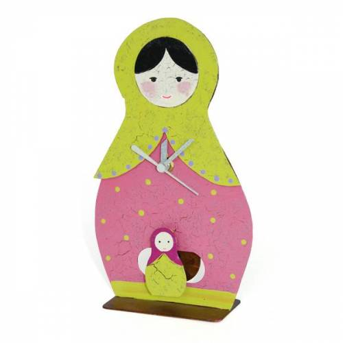 GLOBO Fair Trade Standuhr Babuschka Mit Pendel, Handbemalt Aus Metall rosa