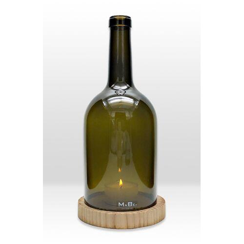 MaBe Flaschenwindlicht® Aus Der 3l Weinflasche, Bordeauxform In Oliv, 30cm Hoch Mit Beton Untersetzer Schwarz douglasie