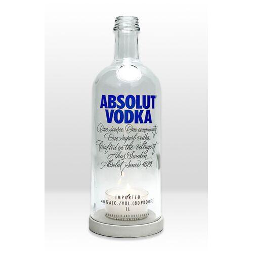 MaBe Flaschenwindlicht® Aus Der 1l Wodkaflasche Mit Beton Untersetzer grau