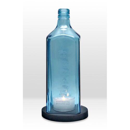 MaBe Flaschenwindlicht® Aus Der 1l Gin Flasche Mit Beton Untersetzer schwarz