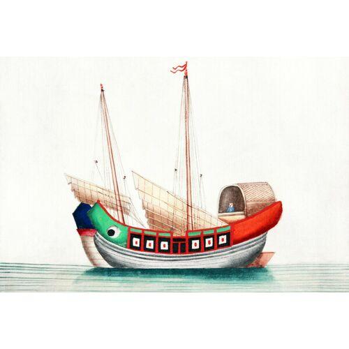 Photocircle Chinesische Malerei Mit Altem Chinesischem Seeschiff - Poster Von Vintage Collection  150 x 100 cm