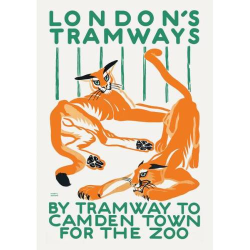 Photocircle London's Tramways - By Tramway To Camden Town For The Zoo - Poster Von Vintage Collection  30 x 21 cm