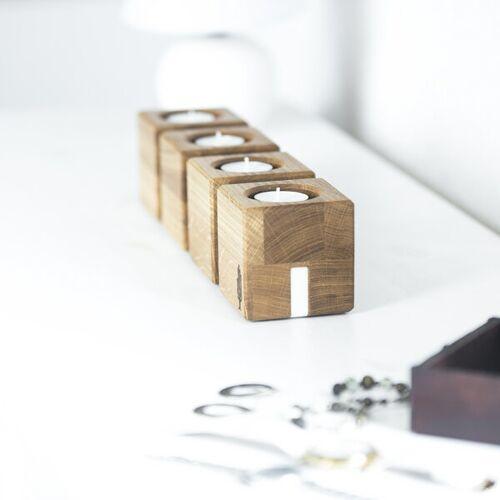 Holzbutiq Kerzenhalter Kvar, Kerzenständer Aus Holz   Kerzenhalter Für 4 Kerzen