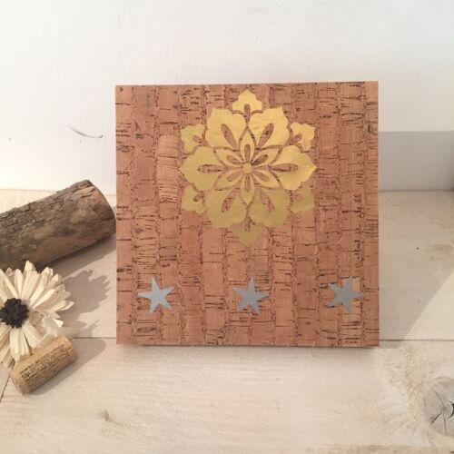 Living in Kork Kork Holzbild Mandala Gold Blume gold