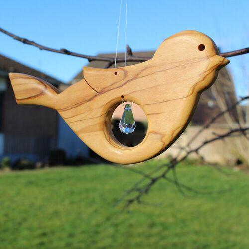 Mitienda Shop Fensterdeko Vogel Aus Holz Mit Bleikristall Zapfen