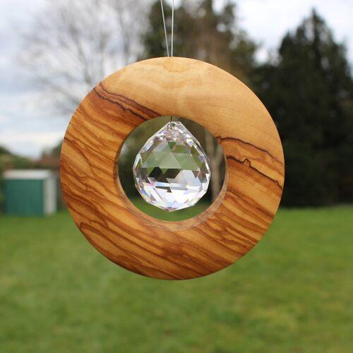 Mitienda Shop Fensterschmuck Scheibe Aus Holz Zum Aufhängen   Mit Bleikristall 30mm