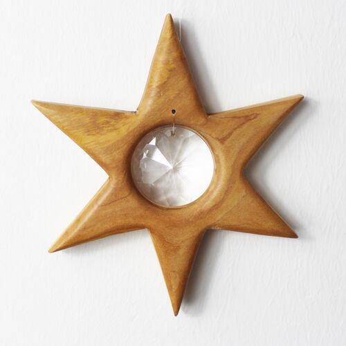 Mitienda Shop Fensterschmuck Stern Aus Holz Mit Kristall Scheibe