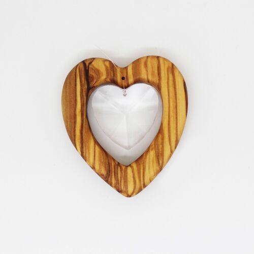 Mitienda Shop Fensterschmuck Herz Aus Holz   Herz Mit Bleikristall  groß