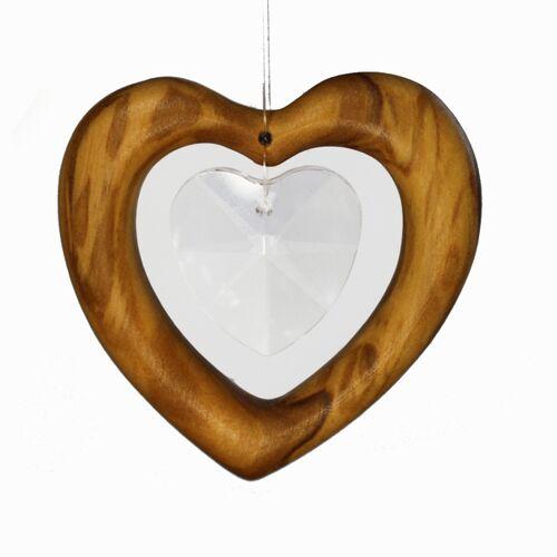 Mitienda Shop Fensterschmuck Herz Aus Holz   Herz Mit Bleikristall  klein