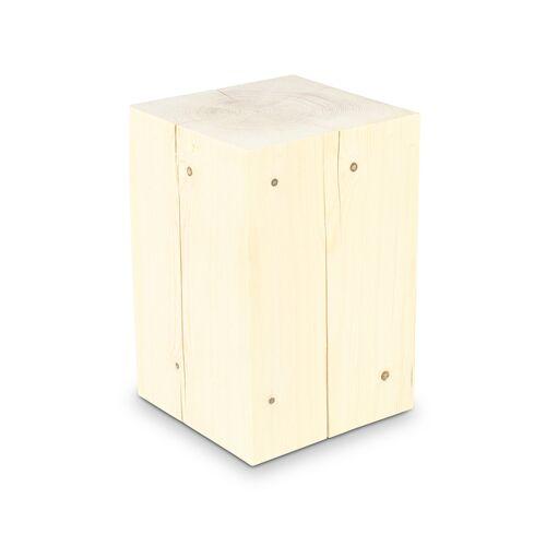 GreenHaus Holzblock 30x30cm Fichte Ungeölt Massivholz Beistelltisch  30×30×40cm