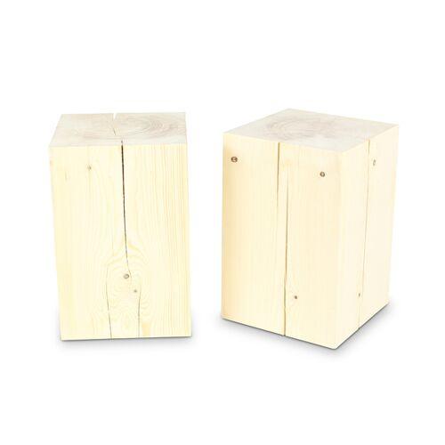 GreenHaus Holzblock 30x30cm Fichte Ungeölt Massivholz Beistelltisch  30×30×45cm