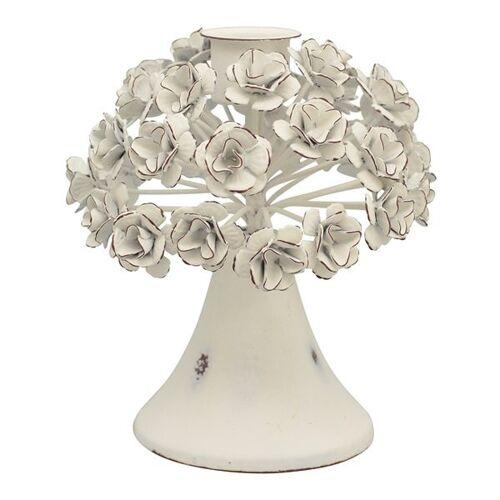 Mitienda Shop Kerzenständer Rustikal Mit Blumen, Weiß weiß