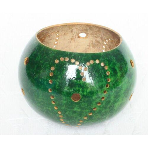 Mama Akua Kalebasse Teelicht Aus Einem Flaschenkürbis -Grün- grün 10 cm