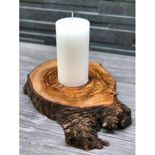 Olivenholz erleben Kerzenhalter Rustikal Olivenholz Für Stumpenkerzen Jeder Größe