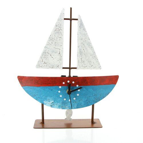 Globo Standuhr Segelboot Mit Pendel, Metall blau/rot