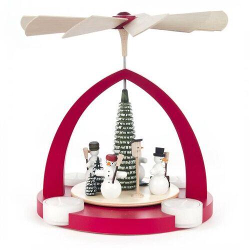 Dregeno Pyramide Mit Schneemänner Für Teelichter In Rot Oder Natur rot