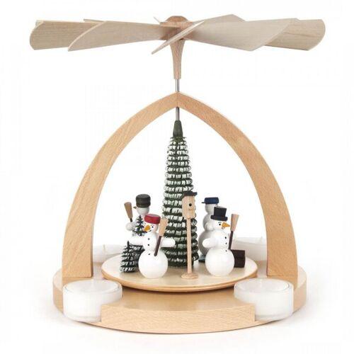 Dregeno Pyramide Mit Schneemänner Für Teelichter In Rot Oder Natur beige
