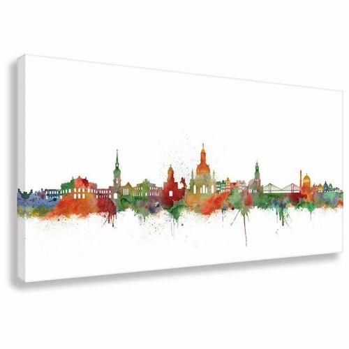 Kunstbruder Skyline Von Dresden - Light - Leinwand - Kunstdruck - Bild  40x80 cm