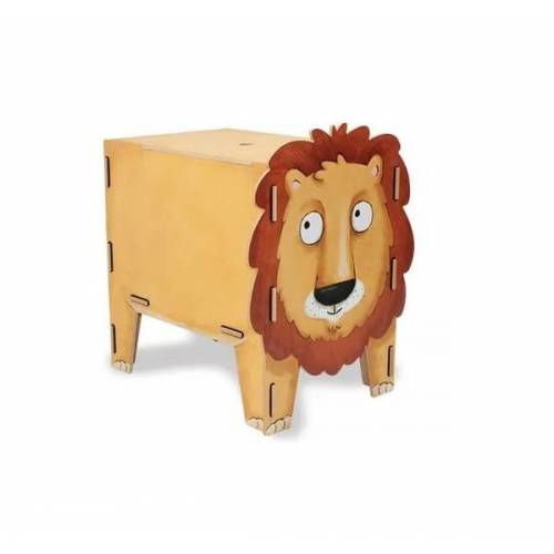 Werkhaus GmbH Kinder Hocker Aus Holz - Aufbewahrungsbox Kiste Sitzhocker Kinderzimmer Tiere löwe