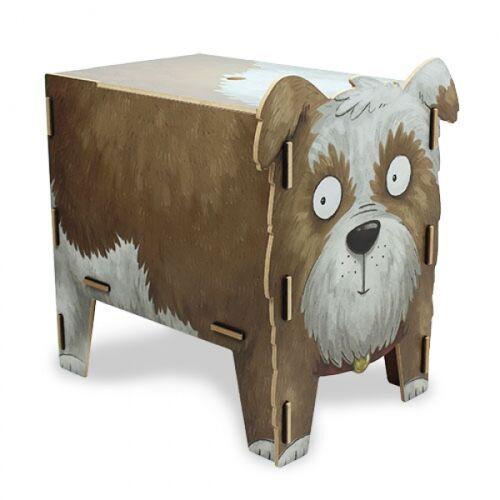 Werkhaus GmbH Kinder Hocker Aus Holz - Aufbewahrungsbox Kiste Sitzhocker Kinderzimmer Tiere hund