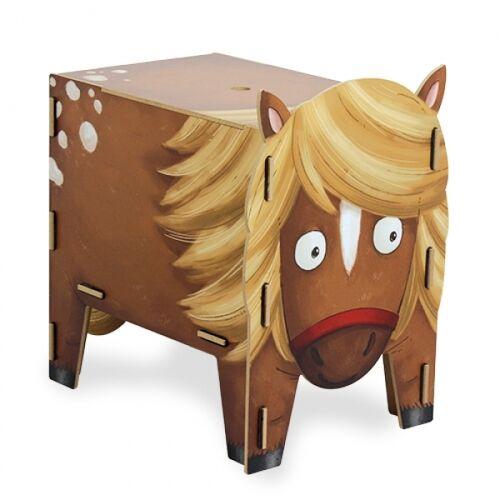 Werkhaus GmbH Kinder Hocker Aus Holz - Aufbewahrungsbox Kiste Sitzhocker Kinderzimmer Tiere pony
