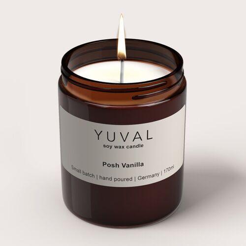 Yuval Vegane Duftkerze Im Glas Mit Vanille Und Sandelholz Duft (Posh Vanilla) vanille