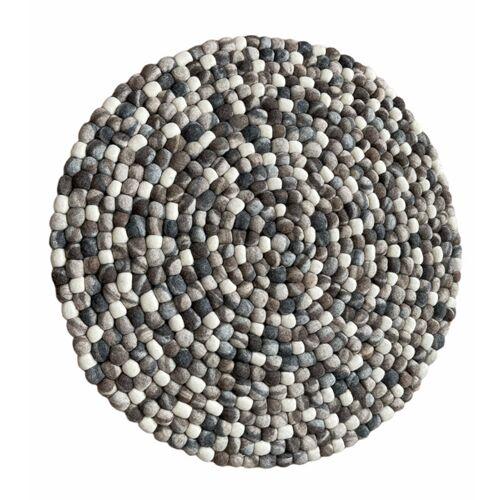 NEPALAYA Filzkugelteppich Kieselstein 90 Cm Rund kieselstein