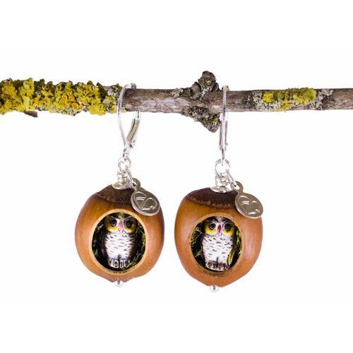 Zimelie Holzschmuck Haselnuss Echtsilber Ohrringe Eulenfiguren Mit Moos #Z257 haselnuss