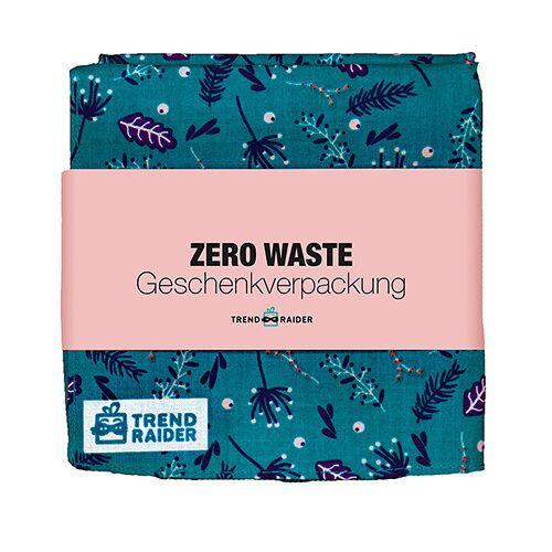 TrendRaider Zero Waste Geschenkverpackung, Geschenktuch petrol/gemustert (blau)