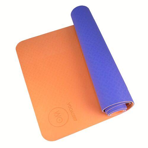 AKO Yoga Yogamatte Tpe 6 Mm Rutschfest Und Recyclebar orange/lila