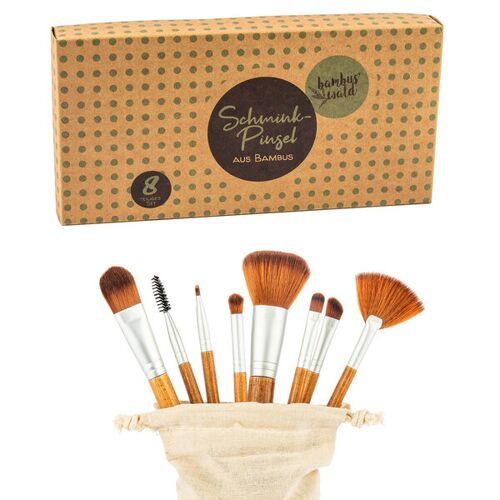 Bambuswald 8er Make-up Set Aus Bambus Inkl. Tasche   Pinsel Schminkpinsel make/up