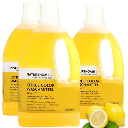 NATUREHOME Veganes Bio Waschmittel Citrus Color Set 3x 1,5 L / 1x 1,5 L / 1x120 Ml