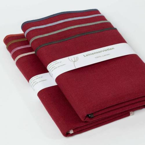 nahtur-design Leinenservietten 8er Set, 100% Leinen rot