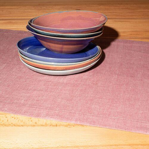 nahtur-design Tischläufer Aus 100% Leinen, Leinendenim rosé (rosa)