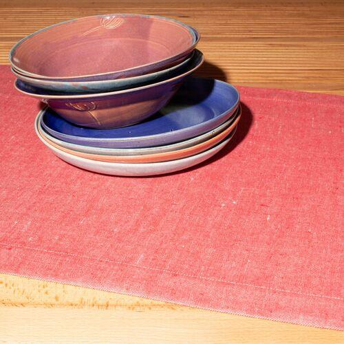 nahtur-design Tischläufer Aus 100% Leinen, Leinendenim rot