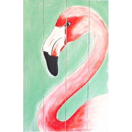 fairanda Gemälde Flamingo Auf Recyceltem Holz flamingo