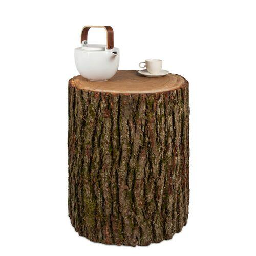 GreenHaus Baumstamm Beistelltisch Eiche Mit Rinde Holzblock Holzklotz Hocker  m ø 25-30 cm