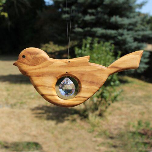 Mitienda Shop Fensterdeko Vogel Aus Holz Mit Bleikristall Tropfen