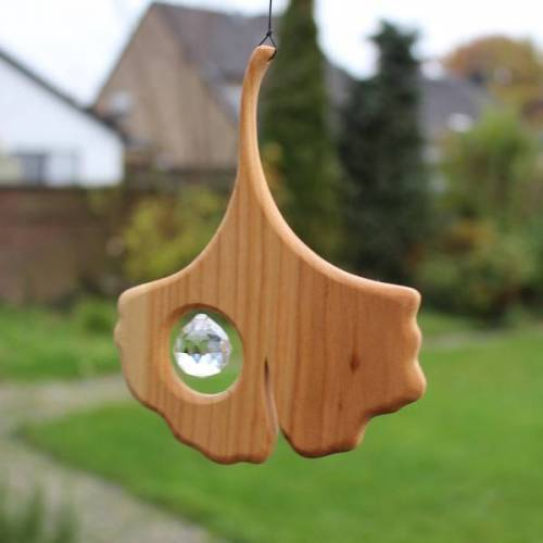 Mitienda Shop Fensterschmuck Aus Holz   Ginkgo Mit Kristall