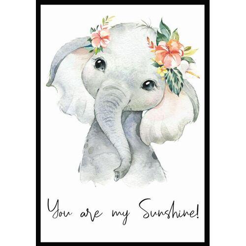 """Eykaffee Kleiner Elefant """"Sunshine""""  a4 mit rahmen"""