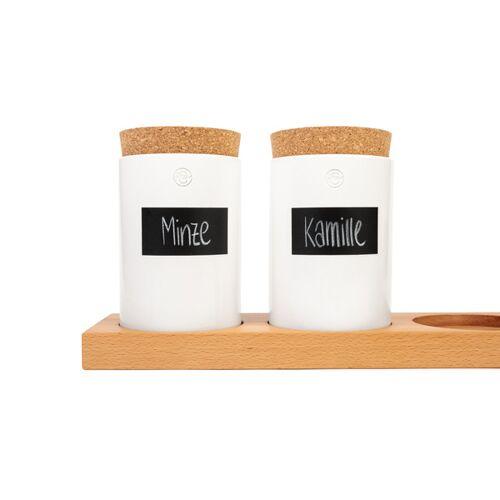 klotzaufklotz Vorratsdosenregal Buche weiße dosen 4 dosen (56cm)