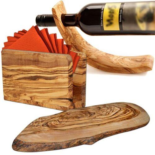 NATUREHOME Olivenholz Ambiente-set: Weinflaschenhalter, Serviettenhalter, Baumscheibe