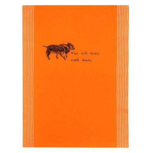 Hirschkind You Will Never Walk Alone! Bio-&Fair-trade-geschirrtuch orange