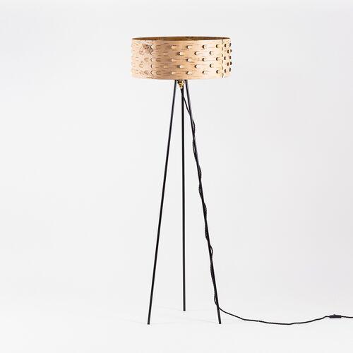 MOYA Birch Bark Stehlampe Für Wohnzimmer / Dreibein Stehleuchte Aus Birkenrinde Ø50cm