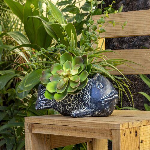 Mitienda Shop Blumentopf Aus Ton Fisch Blau blau