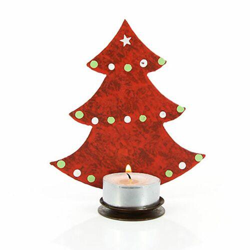 Mitienda Shop Teelichthalter Tannenbaum, Weihnachtsdeko Rot rot