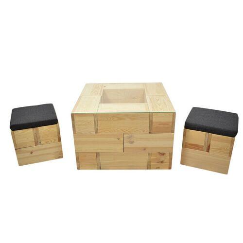 4betterdays Coole Sitzecke Mit Couchtisch Inkl. Glasplatte Und 2 Hockern Inkl. Kissen Aus Kiefernholz