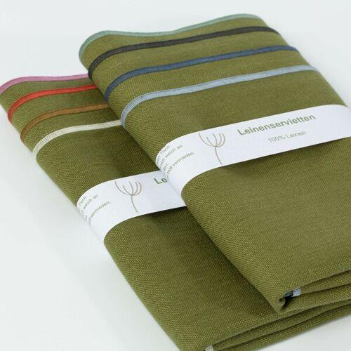 nahtur-design Leinenservietten 8er Set, 100% Leinen moos (grün)